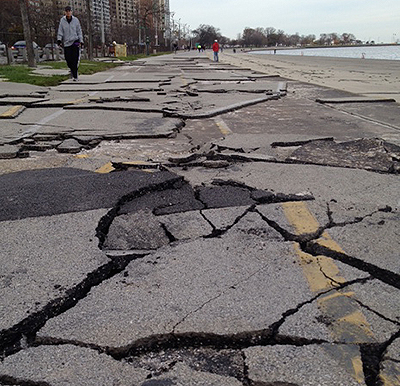 Damaged Chicago Bike Path Photo