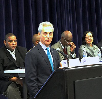 Rahm Emanuel Gun Violence Town Hall Photo