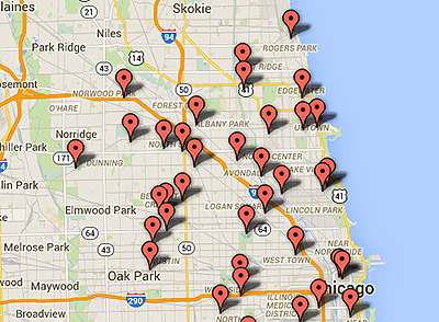 Chicago Flu Shot Map Photo
