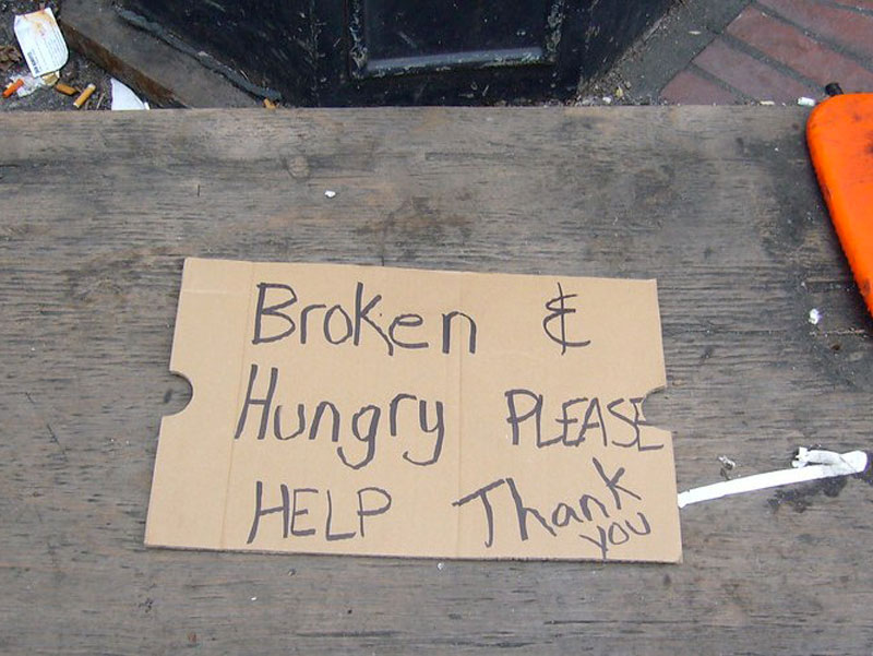 Homeless sign photo