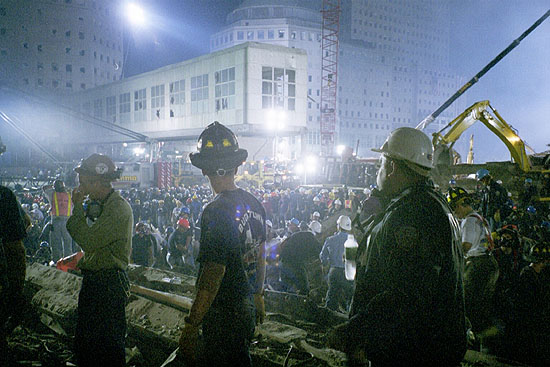 Chicago firefighters working at Ground Zero. (Photo by Steve Serb)