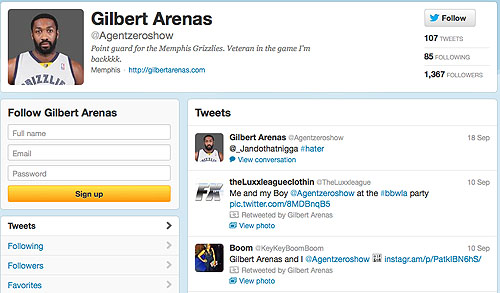Gilbert Arenas Twitter Photo